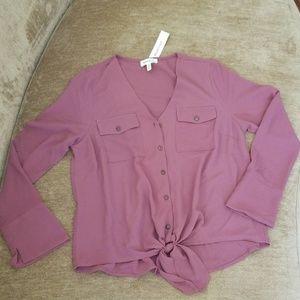 NWT Montesu front tie button down blouse